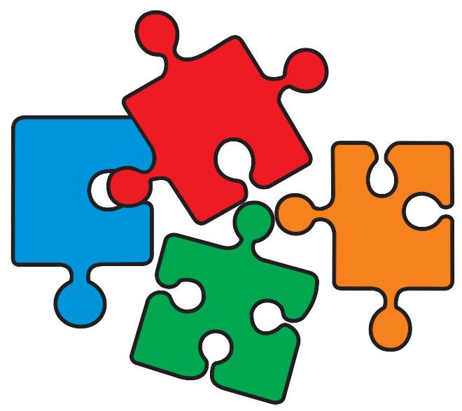 Puzzleteile in verschiedenen Farben